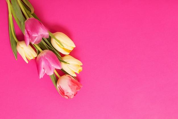 Wiosenne kwiaty na różowej powierzchni papieru