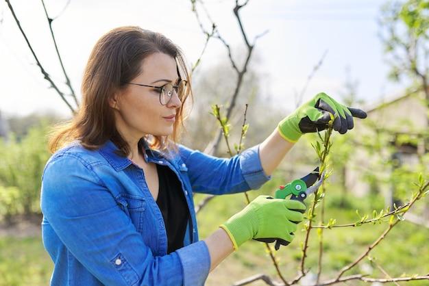Wiosenne ogrodnictwo, kobieta ogrodniczka w rękawiczkach z sekatorem przycinająca suche gałęzie na drzewie, tworząca drzewo brzoskwiniowe. hobby, ogrodnictwo, koncepcja farmy