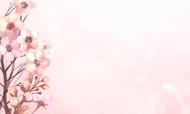 Wiosenne tło z różowym kwiatem sakura