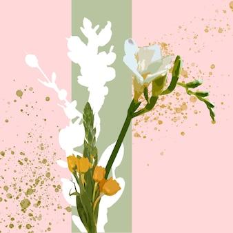 Wiosenny klimat. kwiatowy ilustracja akwarela kwiat fantasy w pięknych kolorach. nowoczesny geometryczny wzór powitalny z copyspace dla reklamy. wiosna, ślub, kartka na powitanie dnia matki, kobiety.