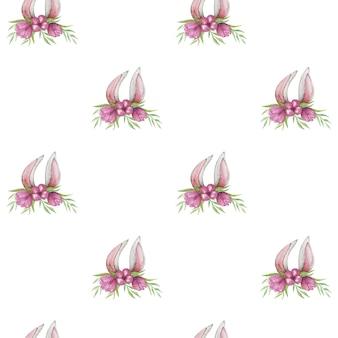 Wiosenny królik wzór, wzór wielkanocny, akwarela króliczek