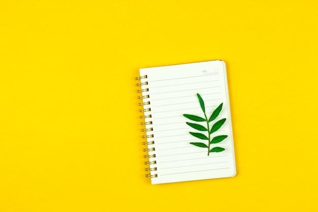 Wiosenny projekt notatnika lub makieta na żółtym tle z zielonymi liśćmi, skopiuj miejsce płaskie zdjęcie projektowe