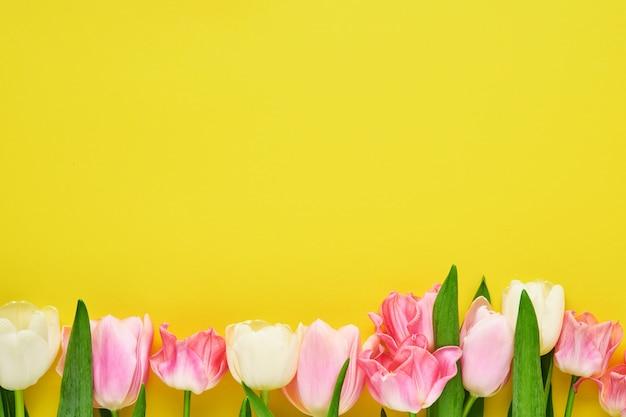Wiosenny sztandar różowych i białych tulipanów na żółtym tle