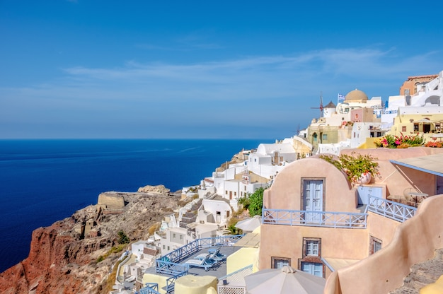 Wioska oia, wyspa santorini, grecja