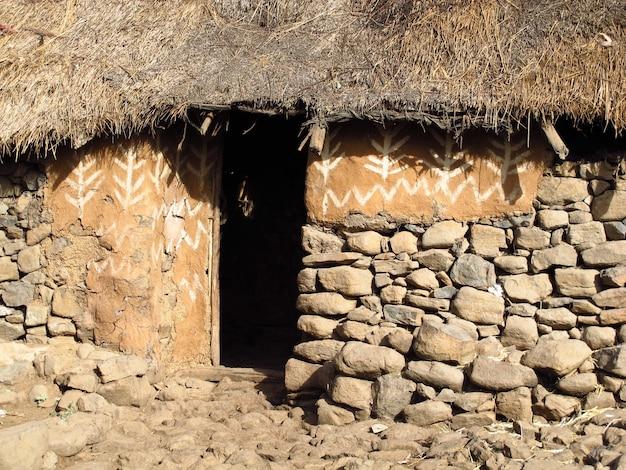 Wioska plemienna w etiopii, afryka