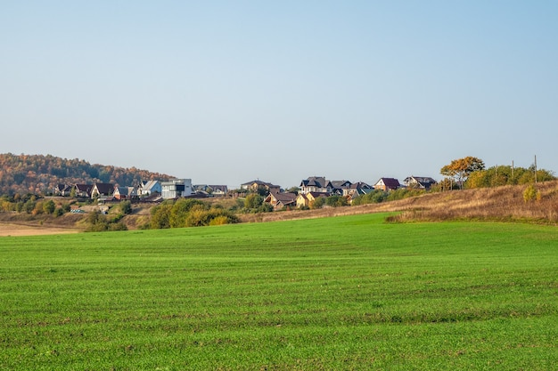 Wioska w zielonej kotlinie. nowoczesna wioska z domkami w zielonym polu. rosja.