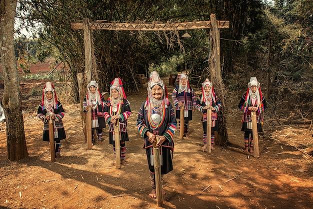 Wioski plemion akha, prowincja chiang rai, północna tajlandia.