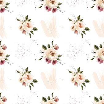 Wiosną akwarela kwiat różowy i koralowe kwiaty wzór
