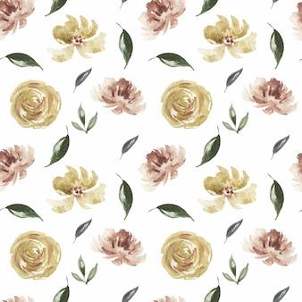 Wiosna akwarela różowy kwiat i wzór kwiaty bordo i koralowców