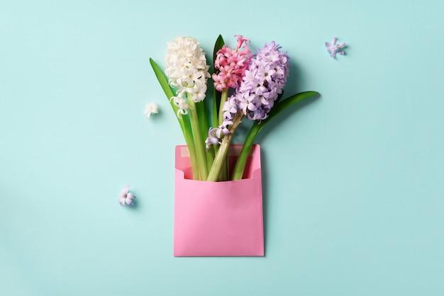 Wiosna hiacynt kwitnie w różowej pocztowej kopercie