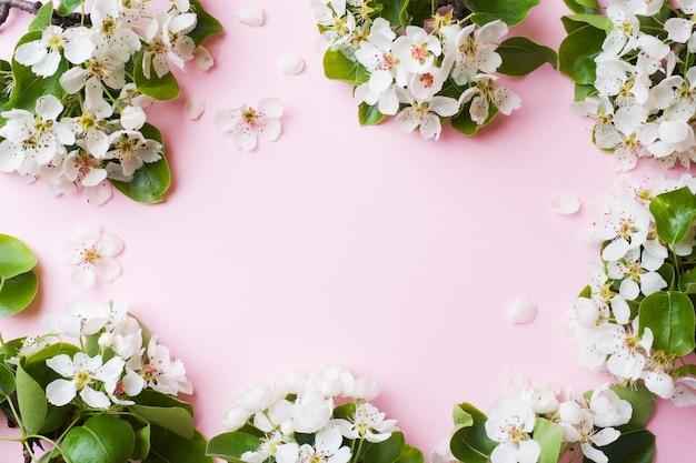 Wiosną kwitnąca gałąź na różowo