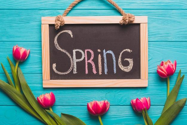 Wiosna pisze w pobliżu tulipanów fuksja
