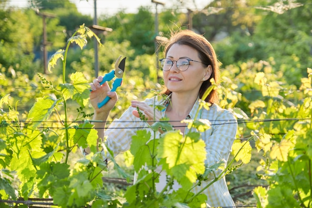 Wiosna plenerowy portret dojrzała kobieta pracuje w winnicy
