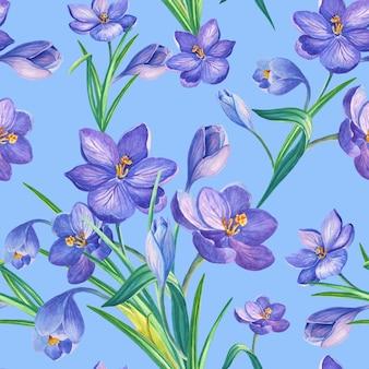 Wiosna wzór z krokusami.