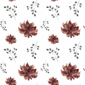 Wiosny okwitnięcia burgundy kwiatów bezszwowy wzór