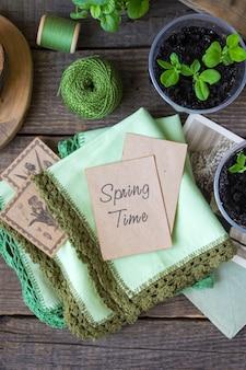 Wiosny tła drewniane sadzonki