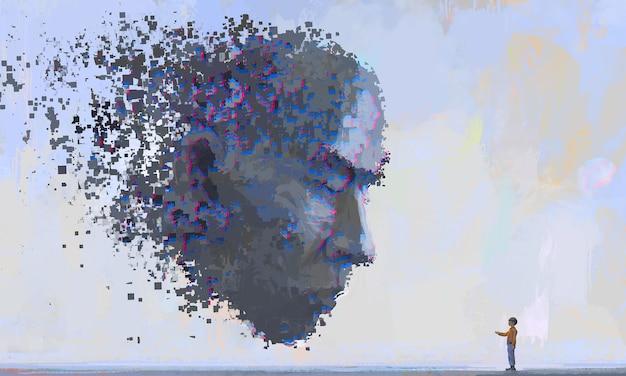 Wirtualna i realistyczna komunikacja, futurystyczne ilustracje, cyfrowe malowanie.