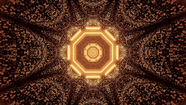 Wirtualna projekcja złotych świateł tworzących ośmiokątny wzór