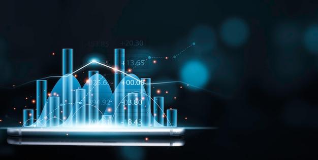 Wirtualny niebieski wykres giełdowy i wykres na smartfonie z niebieskim bokeh, analiza handlowca dla koncepcji inwestycyjnej.