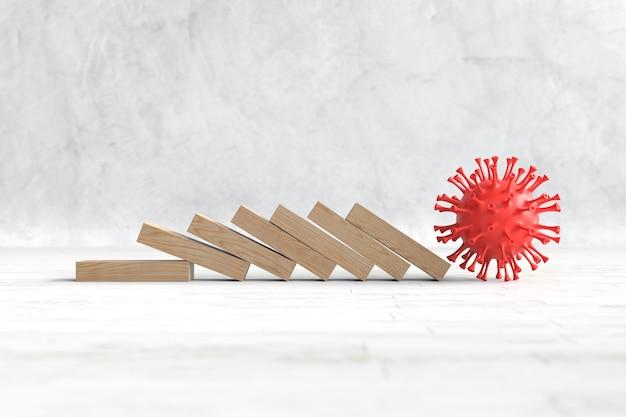 Wirus covid-19 rozbija drewniane bloki, koncepcja biznesowa i finansowa. ilustracja 3d