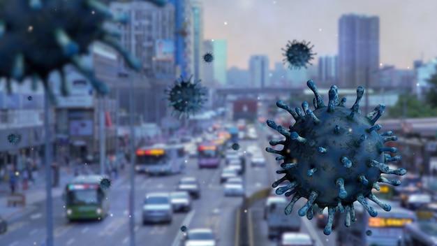 Wirus grypy covid 19 z piękną północną bramą tajpej jako niebezpieczna grypa