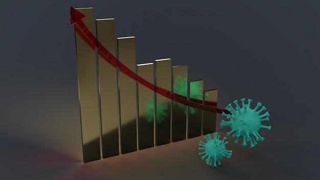 Wirus i biznes renderowania 3d wykres dla treści medycznych.
