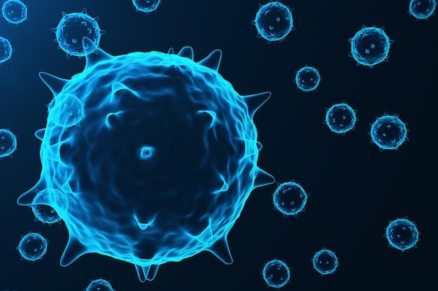 Wirus i zarazki, bakterie, organizm zainfekowany komórkami. wirus grypy h1n1, świńska grypa na abstrakcyjnym tle. niebieskie wirusy świecące w atrakcyjnym kolorze, renderowanie 3d