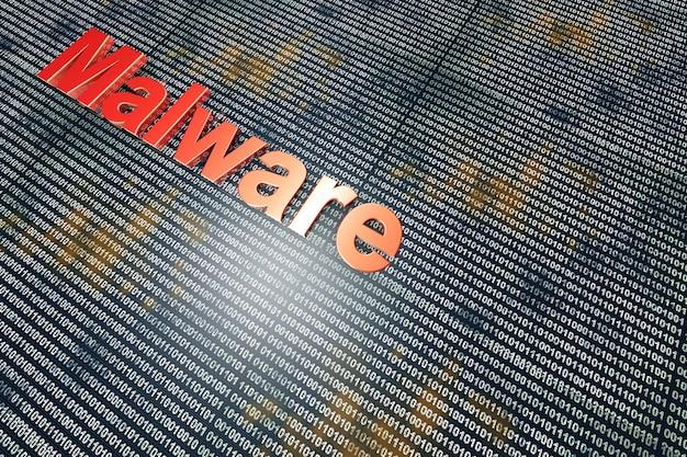Wirus komputerowy w kodzie cyfrowym.