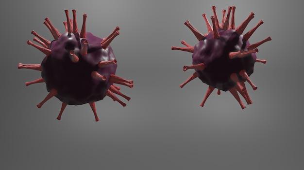 Wirus koronawirusa w naczyniu krwionośnym. widok 3d zakaźnego wirusa. zaakceptować covid-19.