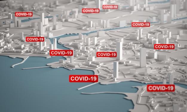 Wirus korony covid-19 rozprzestrzenia się po całym mieście. renderowanie 3d widok z lotu ptaka miniaturowe budynki miasta