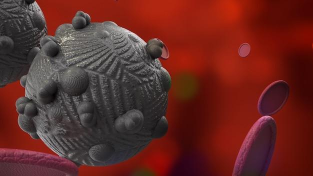 Wirus w ciemnym renderingu 3d dla treści medycznych i opieki zdrowotnej.
