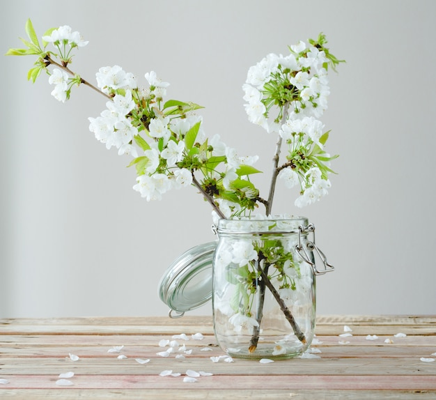 Wiśni gałąź z kwiatami w szklanym słoju na drewnianym