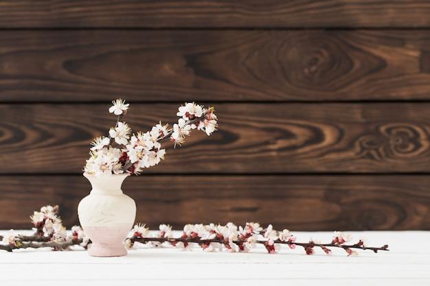 Wiśnia kwitnie w wazie na drewnianym tle