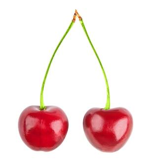 Wiśnie na białym jedzeniu
