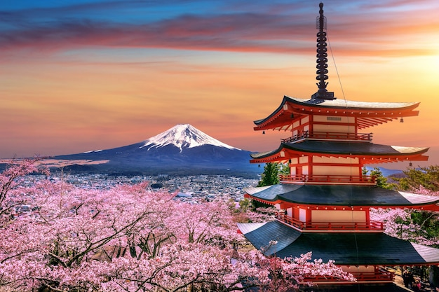 Wiśniowe kwiaty wiosną, pagoda chureito i góra fuji o zachodzie słońca w japonii.