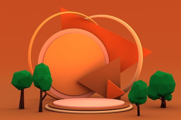 Witaj jesień 3d minimalne podium z zielonymi drzewami i etapem produktu 3d jesienna scena dla projektu