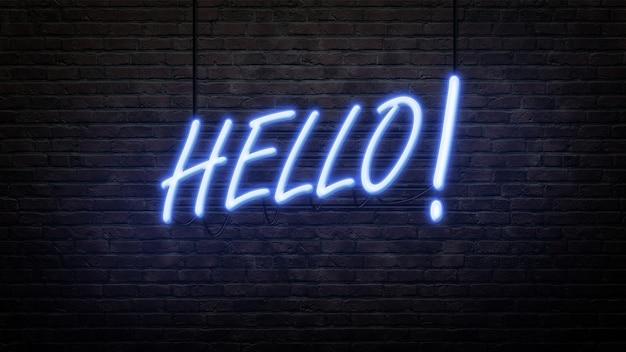 Witam emblemat znak neon w stylu neonowym na tle ściany z cegły