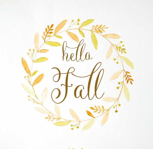 Witam spaść na rysunek ręka jesień wieniec kwiatów