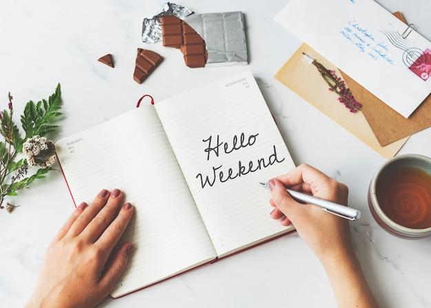 Witam weekend wiadomość szczęście relaks koncepcja