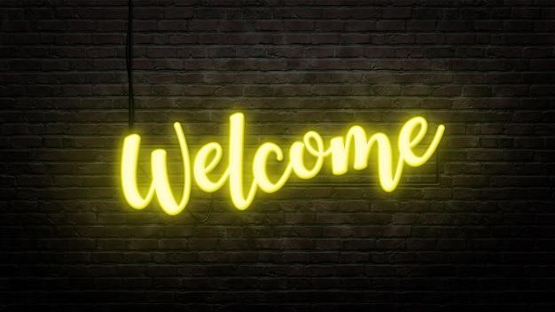 Witamy emblemat neon znak w stylu neonowym na tle ściany z cegły