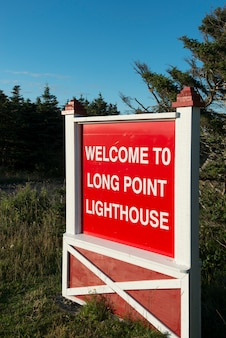 Witamy signboard na long point lighthouse, crow head, twillingate, north twillingate island, newfou