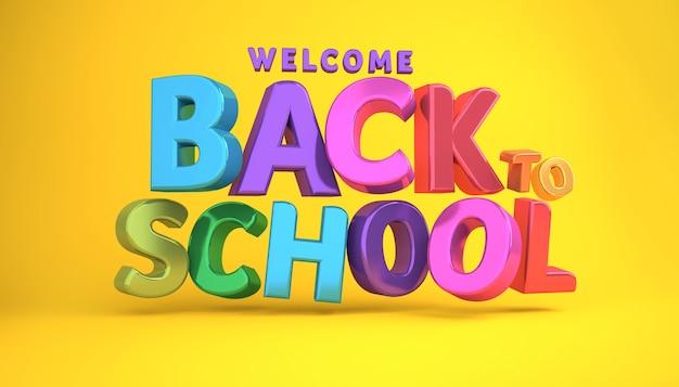 Witamy z powrotem do szkoły banner kolorowy baner renderowania 3d.