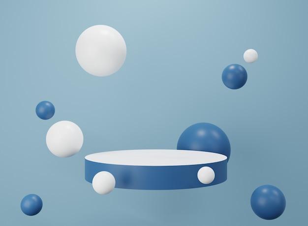 Witryna biało-niebieska. wyświetlacz produktu. renderowanie 3d