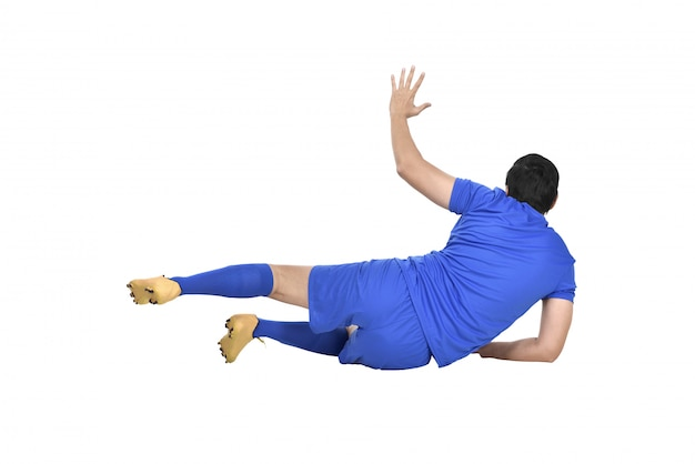Wizerunek azjatyckiego bramkarza z niebieską koszulką