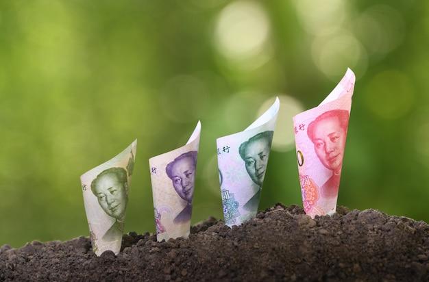 Wizerunek chińskiego juana banknot na górze ziemi dla biznesu, oszczędzanie, wzrost, ekonomiczny pojęcie