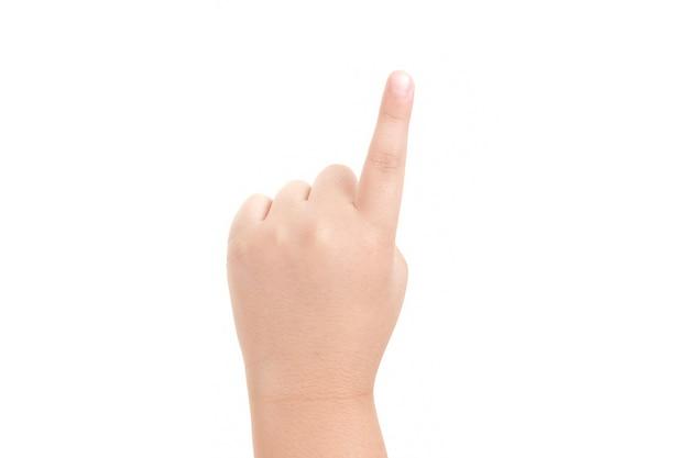 Wizerunek wskazującego palca chłopca