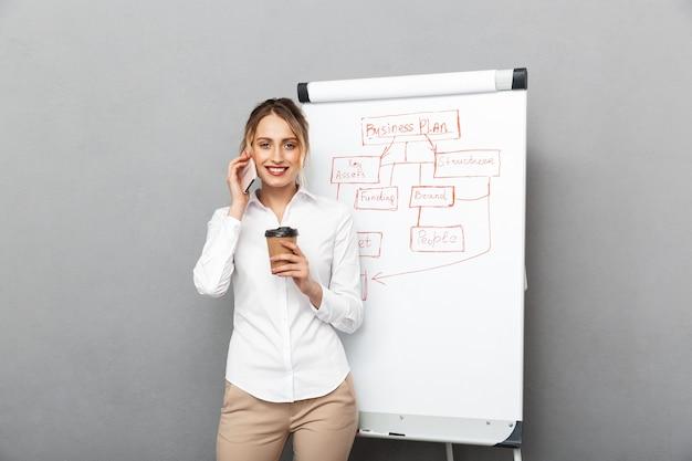 Wizerunek zadowolony bizneswoman w wizytowym piciu kawy podczas prezentacji za pomocą flipchart w biurze, na białym tle