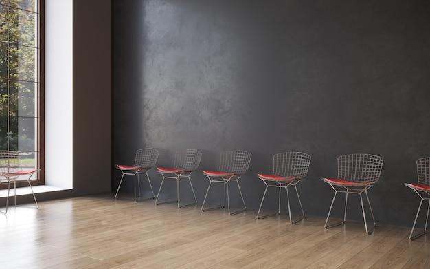 Wizualizacja 3d krzesła restauracyjnego w minimalistycznym wnętrzu renderowania 3d copy space cg render