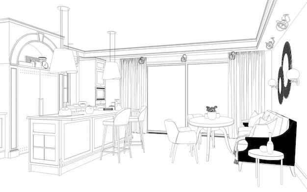 Wizualizacja konturów wnętrz 3d kontur szkicu ilustracji