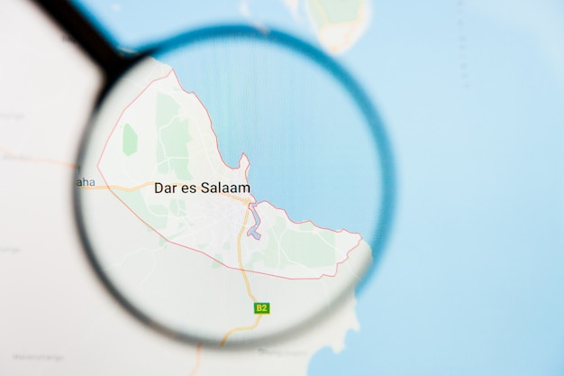 Wizualizacja miasta dar es salaam poglądowa koncepcja na ekranie wyświetlacza przez szkło powiększające